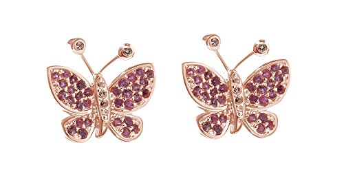 Simulated Pink Sapphire and Brown CZ Butterfly Stud Earrings in14k Rose Gold Over Sterling Silver