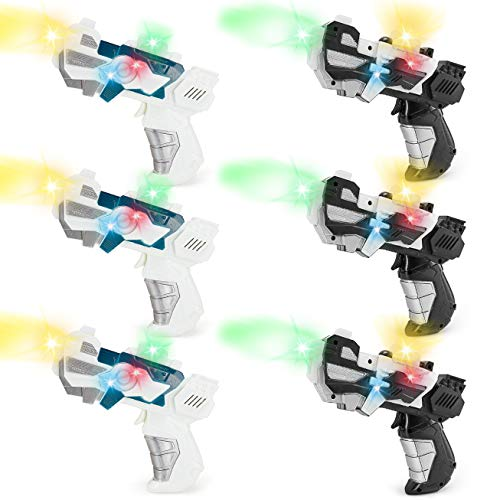 (6 Pack - Cosmic Space Gun Blaster with LED Lights & Sounds - Kids Party Favors Bulk (Set of)