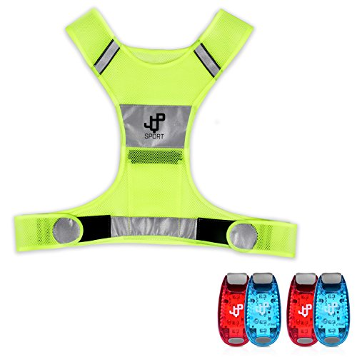 LED Safety Light and Reflective Vest Sets (4-Pack with Clip and 4 BONUSES), The Perfect Running Light, suitable for Jogging, Cycling, Biking, Dog Walking, Strobe Light, Waterproof, By JQP Sports (S/M)