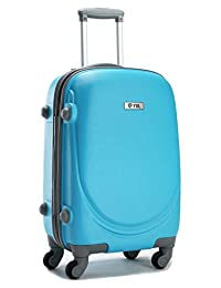 YUL Canada Brand Lightweight Hardside Spinner Luggage Trolley Suitcase with TSA Lock Smiling Collection (Azure Blue, 20-inch Carry-on)