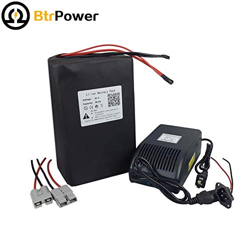 52V 30Ah Lithium Li-ion Battery Pack for Electric Bike Bicycle Scooter with 5A Charger 50Amps Limit BMS PCB Fit for 500W / 1000W / 1500W from BtrPower