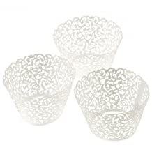 100 Filigree Little Vine Lace Laser Cut Cupcake Wrapper Liner Baking Cup Muffin Case Trays Wedding Birthday Party Decoration