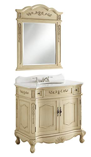 "36"" Traditional Style Biege Fairmont Sink Vanity w/ Mirror ()"