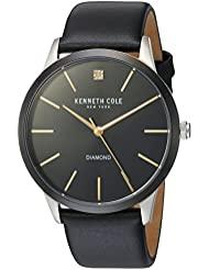 Kenneth Cole New York Mens Diamond Quartz Stainless Steel and Leather Dress Watch, Color:Black (Model: KC15111003)