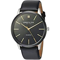 Kenneth Cole New York Men's 'Diamond' Quartz Stainless Steel and Leather Dress Watch, Color:Black (Model: KC15111003)