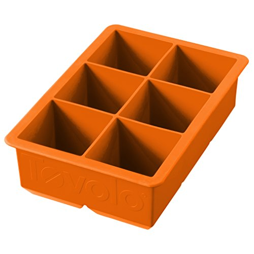 Tovolo King Cube Ice Mold Tray, Long Lasting Sturdy Silicone, Fade-Resistant, 2 Inch Cubes, Orange Peel