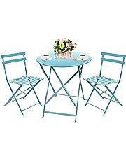 Amagabeli 3 stuks tuinbakje set tafel (H90 x D75cm) en 2 stoelen (H83 x B42 x D38cm) opvouwbare metalen balkonserre outdoor terrasmeubelset roestvrij weerbestendig 2-zitsblauw