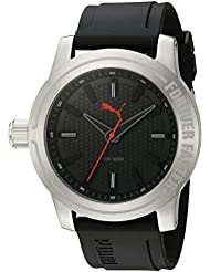 PUMA Quartz Stainless Steel and Polyurethane Watch, Color:Black (Model: PU103991001)
