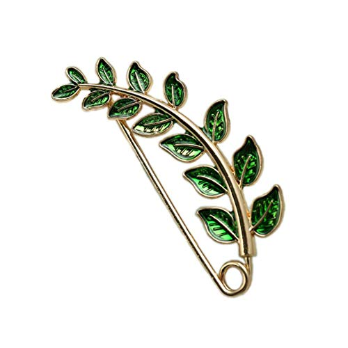 Joyci Vintage Green Leaf Brooch Cardigan Pin Shawl Brooch Buckle Sweater Knitwear Lapel Pin (Gold Plated) ()