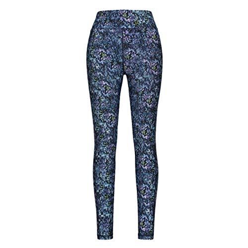 Helzkor Women's Workout Printed Reversible Leggings Full Length for Yoga Jogging Workout - Blue Print, XXL -