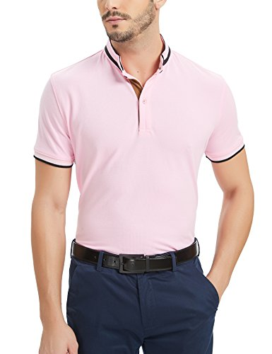Navifalcon Polo Shirts Men 100% Cotton Mens Basic Pique Collared T Shirts Casual Slim Fit Pink L