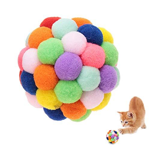 HEEPDD Bunte Katze Ball, handgefertigter Plüsch-Flummi mit Katzenminze und Bell-Interaktives Spielzeug für Katzen…