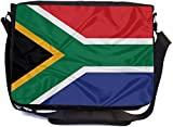 Rikki Knight South Africa Flag Design Combo Multifunction Messenger Laptop Bag - with Padded Insert for School or Work - Includes Wristlet & Mirror
