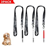 Aptoyu Professional Silent Dog Whistle to Stop Barking, Adjustable Pitch Ultrasonic Recall Training Tool Dog Bark Control Whistle with Free Premium Quality Lanyard, 3 Pack (Black White Red)