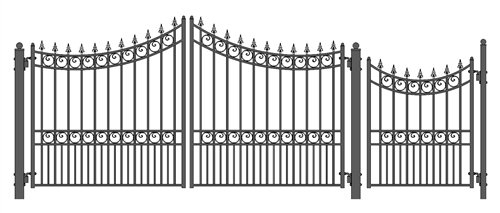 ALEKO Moscow Style Iron Wrought Gate Driveway Gates Ornamental Dual Swing Gates with Pedestrian Gate 4 Ft (12 (Ornamental Wrought Iron Gates)