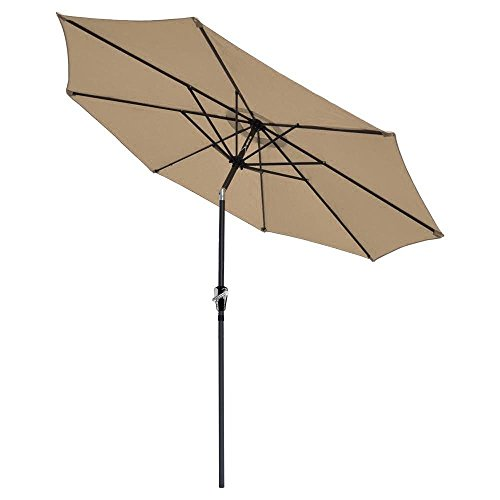 Brand New 9' FT Patio UV Blocking Umbrella Aluminum Crank Tilt Table Market Outdoor Yard Beach/ Tan - Fl Stores Center Jacksonville At Town