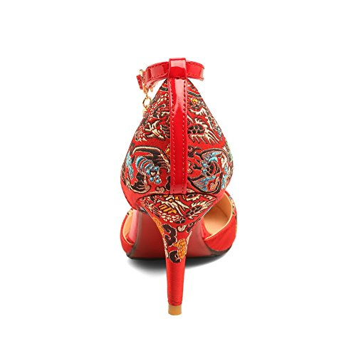 AdeeSu Womens Baguette-Style Waterproof Mini-Size Bridal Urethane Sandals SLC03855 Red 68quq3K