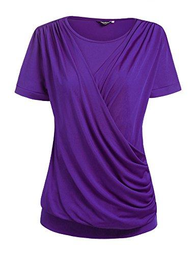 Zeagoo Womens Round Neck Stretchy Drape Front Tunic Blouse, Purple, Large