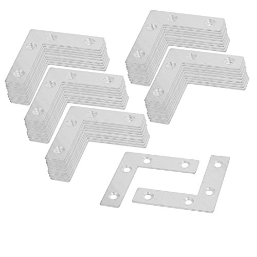 uxcell 60mmx60mmx1mm Metal L Shaped Flat Fixing Mending Repair Plates Brackets 100pcs by uxcell