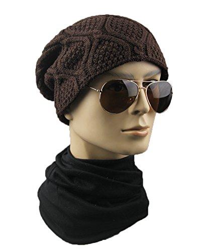 de punto aire de Marrón al abrigado lana a cuadros Gorro sombrero libre dCBqd