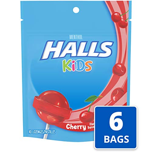 Halls Kids Cherry Cough and Sore Throat Pops - for Children - 60 Pops (6 bags of 10 Pops)