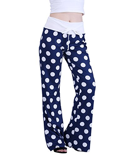 HDE Womens Cotton Pajama Pants Wide Leg Sleepwear Casual Loose Lounge PJ Bottoms,Navy Blue White Polka Dots,X-Large