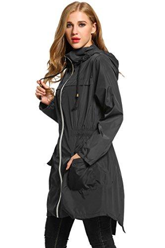 Fermeture Eclair Pluie Impermable Capuche Noir de XXL Manches Manteau S HOTOUCH Veste Longues Femme UTqzww8v
