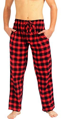 (NORTY - Mens Brushed Cotton Flannel Windowpane Plaid Sleep Lounge Pajama Pant, Red, Black 40776-Small)