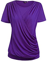 Womens Round Neck Stretchy Drape Front Tunic Blouse