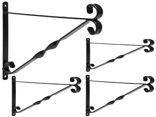 4x GARDEN HANGING BASKET METAL WALL BRACKET - TWISTED - UP TO 16