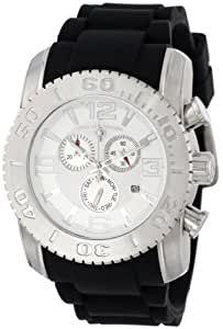 Swiss Legend Men's 20067-02S Commander Collection Chronograph Silver Dial Black Rubber Watch