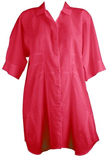 Red Point Beachwear, Mujer, Complemento, Camisa, Anafi, Línea lisa Rojo