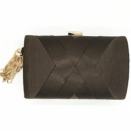 De Suspension Handbag Bandoulière Coffee Satin Emballage Miss Nuptiale Joy Femme Sac Discothèques Prom Tassel Mariage Pour XxwqAWSOgq