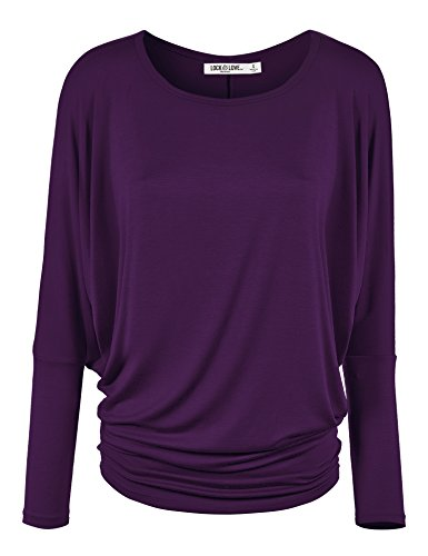 WT826 Womens Batwing Long Sleeve Top M Dark_Purple