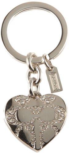Coach Pave Signature C Heart Locket Swarovski Crystal Silver Key Ring, Chain, Fob Purse Charm F92416