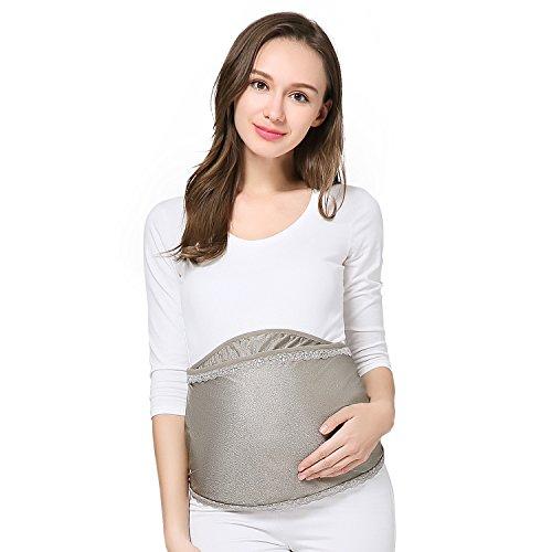 JOYNCLEON マタニティウェア 抗放射線妊婦は腹部の出生前と出生後の360度の保護を身に着けているブロック電磁波遮蔽率99.999%ファッションベルクロ調節可能なエプロンエプロンフルシルバーファイバーかわいいレースの弾性 (L, シルバーグレー)