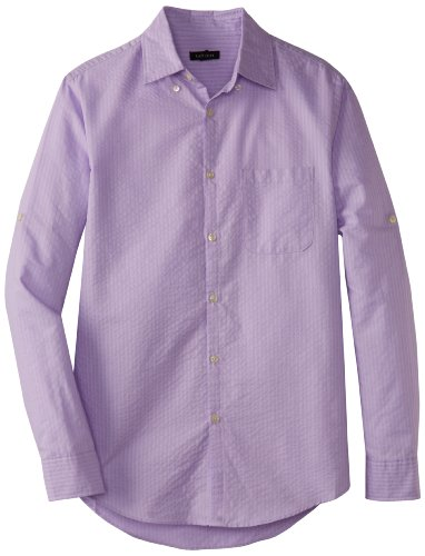 Van Heusen Men's Roll-Up Sleeve Stripe Pucker Cord Button Down