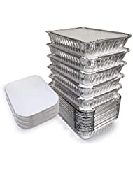 """55 Pack - 2.25 LB Aluminum Pan/Containers with Lids/To Go Containers/Aluminum Pans with Lids/Take Out Containers/Aluminum Foil Food Containers From Spare - 2.25Lb Capacity 8.7"""" x 6.2"""" x 2.1"""""""