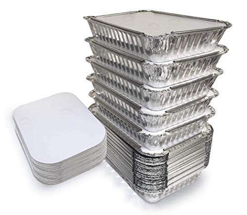 "55 Pack - 2.25 LB Aluminum Pan/Containers with Lids/To Go Containers/Aluminum Pans with Lids/Take Out Containers/Aluminum Foil Food Containers From Spare - 2.25Lb Capacity 8.7"" x 6.2"" x 2.1"" from Spare Essentials"