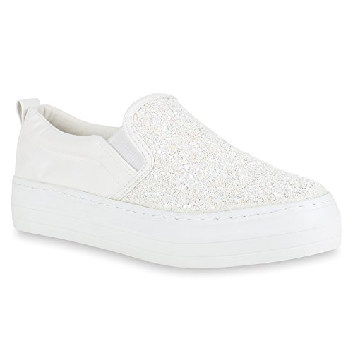 Weiss Damen Stiefelparadies Plateau Plateau Glitzer Glitzer Sneaker mit Flandell Slip Ons OqxwfRB8q