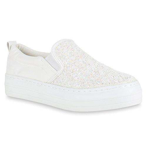 Glitzer Flandell Damen Weiss Plateau Glitzer Sneaker Slip Stiefelparadies Ons mit Plateau x1Y6WqO0