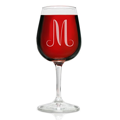 On The Rox Drinks Engraved Wine Glass, 12.75 M-Monogram (Drink Custom Glasses)
