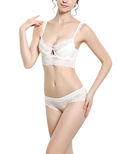 Bluewhalebaby Sexy Lingerie Underwear Embroidered Lace Padded Bra and Bikini Set White 34A -