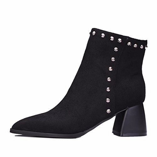 RFF-Women's Shoes Winter Boots Size suede boots with pointed female Black (Terry) IebCBp