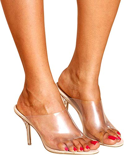 2314b31416e Cape Robbin Allure Women's Dressy Peep Toe Clear Transparent Strap Slip On  Clear Heels - Nude,Nude,9