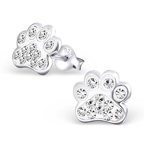 925 Sterling Silver White Crystal Paw Print Stud Earrings 18872