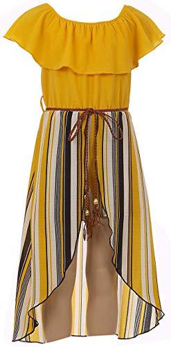 Big Girls Off Shoulder High Low Maxi Split Skirt Romper Casual Dress Summer Birthday Jumpsuits USA 2142 Mustard Size 14