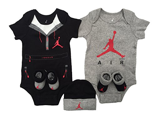 Nike Air Jordan Infant Boys or Girls 5-Piece Set (0-6 Months, Red Jumpman (3933) / Black/White/Light Grey) by NIKE