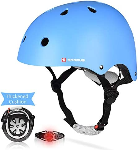 SPORUS Kids Toddler Helmet CPSC and ASTM Certified Impact Resistance Adjustable Helmet with Thicken Cushion and Safety LED Light Multi-Sport Cycling Scooter for Boys Girls Youth 2019 Upgraded