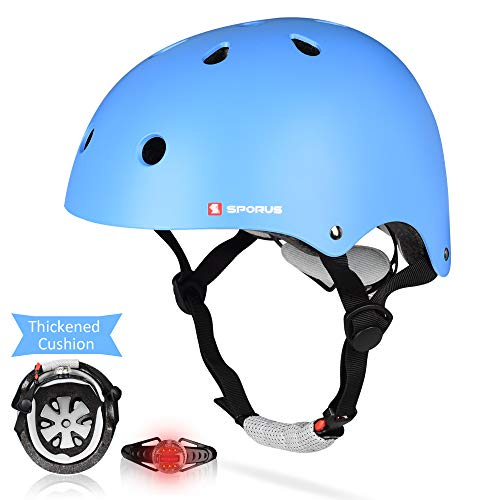SPORUS Kids Toddler Helmet CPSC and ASTM Certified Impact Resistance Adjustable Helmet with Thicken Cushion and Safety LED Light Multi-Sport Cycling Scooter for Boys Girls Youth Blue S[2019 Upgraded]